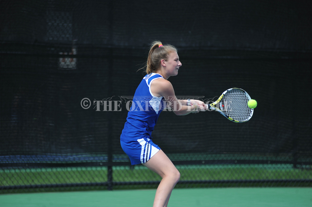 Oxford High's Claire Stevens vs. Germantown in the MHSAA Class 5A tennis playoffs at John Leslie Tennis Courts, in Oxford, Miss. on Monday, April 16, 2016.