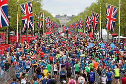 © Licensed to London News Pictures. 28/04/2019. London, UK. Mass runners at the finish of 2019 Virgin Money London Marathon on The Mall. Photo credit: Dinendra Haria/LNP