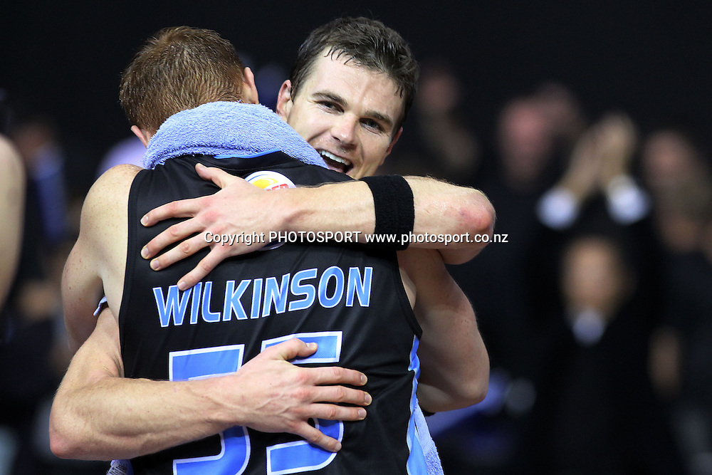 Breakers' Kirk Penney celebrates with Gary Wilkinson. iinet ANBL, Semi-Final Game 3, New Zealand Breakers vs Perth Wildcats, North Shore Events Centre, Auckland, New Zealand. Wednesday 13th April 2011. Photo: Anthony Au-Yeung / photosport.co.nz
