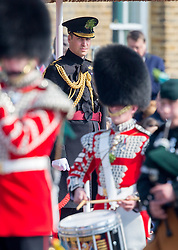 LONDON - UK - 17th Mar -2016: HRH The Duke of Cambridge, Royal Colonel of the 1st Battalion Irish Guards attends the annual St Patrick's Day Parade at the barracks in West London. Prince William takes the salute and presents Shamrocks to serving soldiers. After the parade Prince William posed for the regimental photograph.<br /> Photograph by Ian Jones