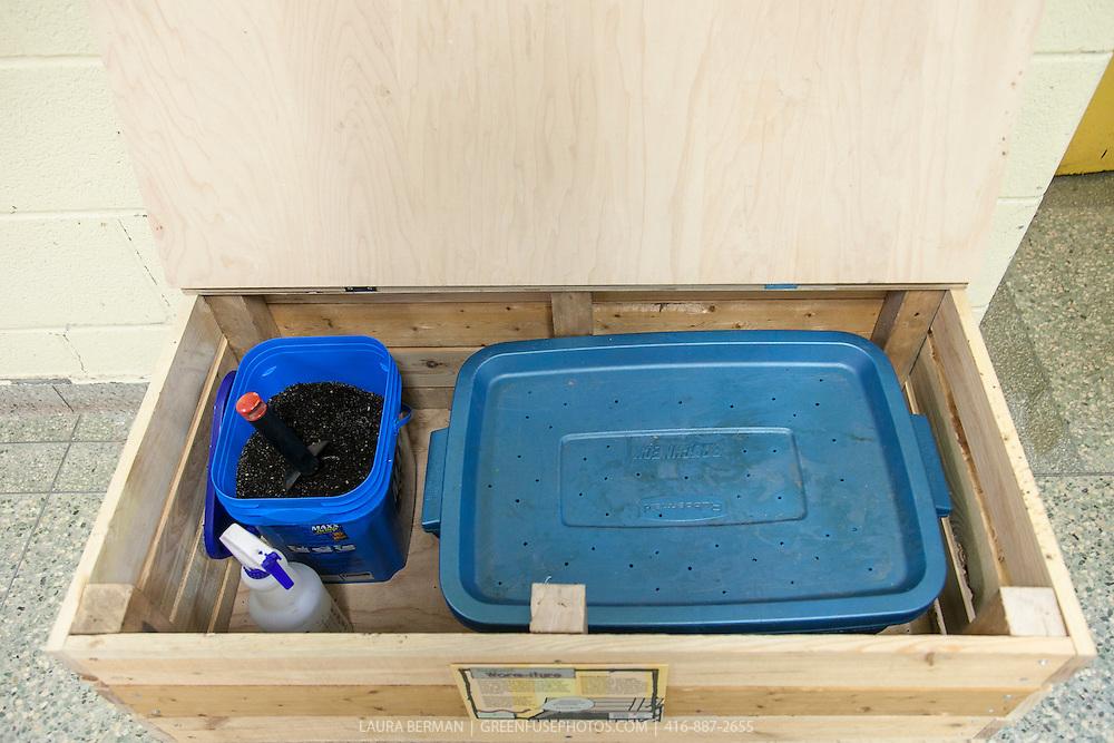 Vermicompost system in a wooden bin.