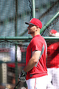 ANAHEIM, CA - JULY 26:  Chris Iannetta #17 of the Los Angeles Angels of Anaheim looks on during batting practice before the game against the Detroit Tigers at Angel Stadium on Saturday, July 26, 2014 in Anaheim, California. The Angels won the game in a 4-0 shutout. (Photo by Paul Spinelli/MLB Photos via Getty Images) *** Local Caption *** Chris Iannetta