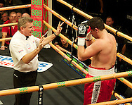 Picture by Alan Stanford/Focus Images Ltd +44 7915 056117<br /> 14/11/2013<br />  Hrvoje Kisicek  is given a standing count during their heavyweight contest at York Hall, Bethnal Green.