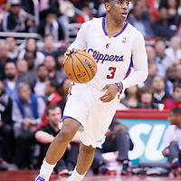 18 February 2014: Los Angeles Clippers point guard Chris Paul (3) brings the ball up court during the San Antonio Spurs 113-103 victory over the Los Angeles Clippers at the Staples Center, Los Angeles, California, USA.
