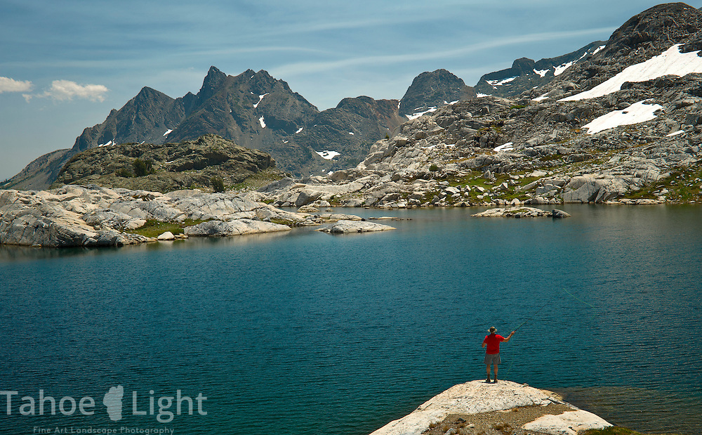 Getting a little high altitude fly fishing in at Nydiver lake, which is actually a complex of 3 lakes in Ansel Adams wilderness. This was day 3 of a 5 day cross country route that was a version on the popular Minaret Lake-Thousand Island Lake loop.
