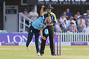 Laura Marsh of England (7) bowling during the Royal London Women's One Day International match between England Women Cricket and Australia at the Fischer County Ground, Grace Road, Leicester, United Kingdom on 4 July 2019.