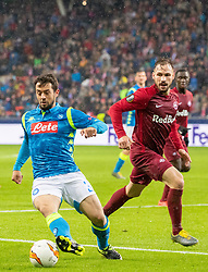14.03.2019, Red Bull Arena, Salzburg, AUT, UEFA EL, FC Red Bull Salzburg vs SSC Napoli, Achtelfinale, Rückspiel, im Bild v-l. Amin Younes (SSC Napoli), Andreas Ulmer (FC Salzburg) // during the UEFA Europa League round of 16, 2nd leg match between FC Red Bull Salzburg and SSC Napoli at the Red Bull Arena in Salzburg, Austria on 2019/03/14. EXPA Pictures © 2019, PhotoCredit: EXPA/ Johann Groder