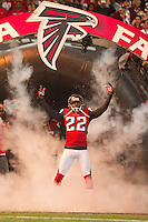 20 January 2013: Cornerback (22) Asante Samuel of the Atlanta Falcons enters the field during player introductions before the San Francisco 49ers 28-24 victory over the Falcons in the NFC Championship Game at the Georgia Dome in Atlanta, GA.