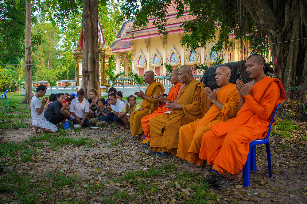 Songkran Honoring the Dead at the Temple in Rural Nakhon Nayok, Thailand.