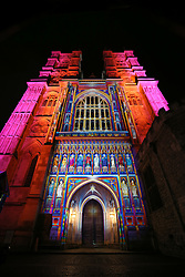 © Licensed to London News Pictures. 14/01/2016. London, UK. Multicoloured flood lights highlight Westminster Abbey in an installation by Patrice Warrener called ' The Light of the Spirit'. Lumiere London is a major new light festival that, over four evenings, brings together<br /> some of the world's most exciting artists working with light utilising large-scale video-mapped projections, interactive pieces and installations. Photo credit: Peter Macdiarmid/LNP