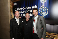 (l-r) MIck Jones and Nick Headon of The Clash and Sam Slee - O2. The Silver Clef Lunch 2013 in aid of  Nordoff Robbins held at the London Hilton, Park Lane, London.<br /> Friday, June 28, 2013 (Photo/John Marshall JME)