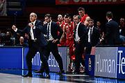 Ettore Messina Esultanza<br /> A X Armani Exchange Olimpia Milano - Germani Basket Brescia<br /> Basket Serie A LBA 2019/2020<br /> MIlano 29 September 2019<br /> Foto Mattia Ozbot / Ciamillo-Castoria