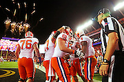 Clemson Tigers quarterback Deshaun Watson (4) celebrates his touchdown in the first half of the National Championship game at Raymond James Stadium in Tampa, Monday, January 9, 2017.