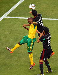 South Africa's  Katlego Mphela vs Mexico's Rafael Marquez during the Group A first round 2010 FIFA World Cup South Africa match between South Africa and Mexico at Soccer City Stadium on June 11, 2010 in Johannesburg, South Africa.  (Photo by Vid Ponikvar / Sportida)