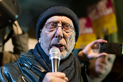 © Licensed to London News Pictures. 30/12/2019. London, UK. Author, performer and broadcaster  speaking at a protest vigil against anti-semitic graffiti in Hampstead and Belsize Park, held in Rosslyn Hill in Hampstead. Yesterday, anti-semitic graffiti was daubed on a synagogue and several shops in north London during the Jewish festival of Hanukkah. Photo credit: Vickie Flores/LNP