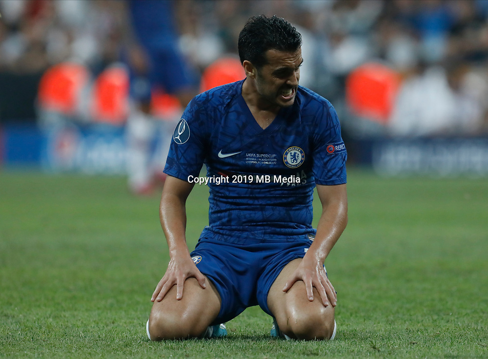 ISTANBUL, TURKEY - AUGUST 14: Pedro of Chelsea reacts during the UEFA Super Cup match between Liverpool and Chelsea at Vodafone Park on August 14, 2019 in Istanbul, Turkey. (Photo by MB Media/Getty Images)