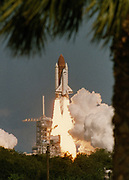 The shuttle Atlantis lifts-off from launch pad 39-B at Kennedy Space Center 18 October, 1989 carrying a five-man crew and the Galileo space probe.  The Atlantis crew will launch the probe to Jupitor 6 hours into the flight.