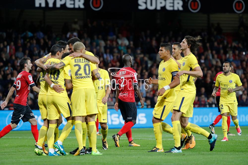 Edinson Roberto Paulo Cavani Gomez (psg) (El Matador) (El Botija) (Florestan), Neymar da Silva Santos Junior - Neymar Jr (PSG), Layvin Kurzawa (psg), Angel Di Maria (psg), Thiago Silva (PSG), Adrien Rabiot (psg), Marcos Aoas Correa dit Marquinhos (PSG), Marco Verratti (psg), Daniel Alves da Silva (PSG) celebrated the goal scored by Jordan IKOKO (En Avant De Guingamp) against it team during the French championship L1 football match between EA Guingamp v Paris Saint-Germain, on August 13, 2017 at the Roudourou stadium in Guingamp, France - Photo Stephane Allaman / ProSportsImages / DPPI