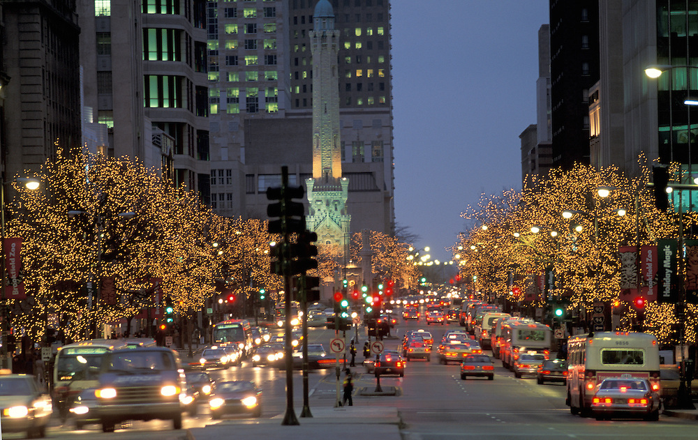 Christmas lights, Michigan Avenue, Chicago, Illinois, USA