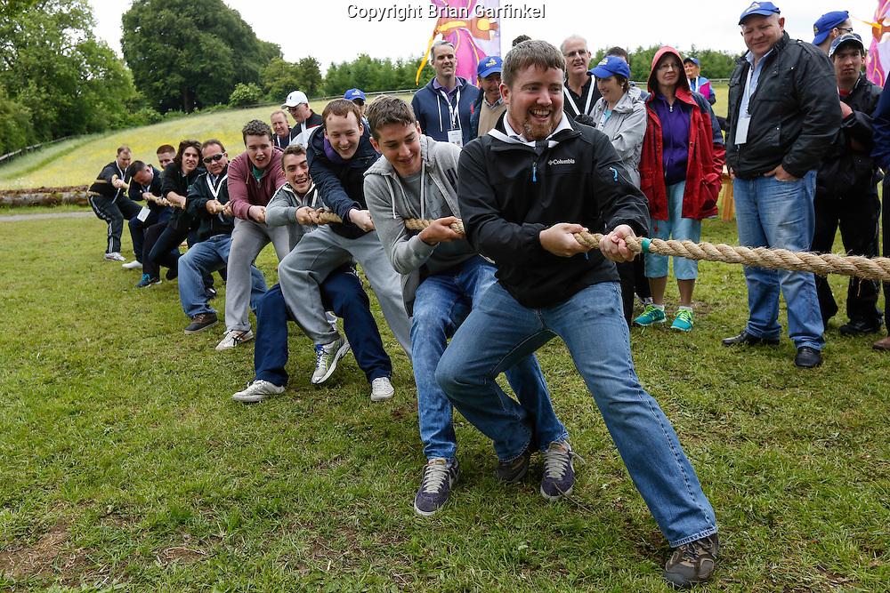Joe Caulfield during the Tug of War at the Caulfield/Mulryan family reunion at Ardenode Stud, County Kildare, Ireland on Sunday, June 23rd 2013. (Photo by Brian Garfinkel)