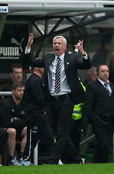NEWCASTLE, ENGLAND - Tuesday, April 19, 2011: Newcastle United's manager Alan Pardew during the Premiership match against Manchester United at St James' Park. (Photo by David Rawcliffe/Propaganda)
