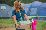 Bringing in important cider rations - The 2017 Glastonbury Festival, Worthy Farm. Glastonbury, 2 June 2017