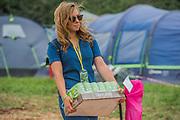 Bringing in important cider rations - The 2017 Glastonbury Festival, Worthy Farm. Glastonbury, 2 June 2017