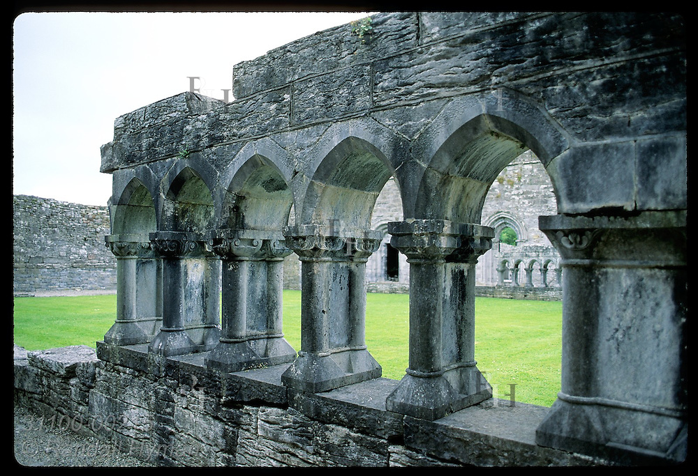 Ruins of Gothic archways frame courtyard in 12th-century Cong Abbey; Cong. Ireland
