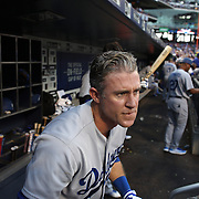NEW YORK, NEW YORK - May 28:  Chase Utley #26 of the Los Angeles Dodgers watching play intensely from the dugout during the Los Angeles Dodgers Vs New York Mets regular season MLB game at Citi Field on May 28, 2016 in New York City. (Photo by Tim Clayton/Corbis via Getty Images)