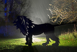 © Licensed to London News Pictures. 15/11/2019. LONDON, UK. A backlit lion motif is seen as The Enchanted Woodland opens on a rainy evening at Syon House in West London.  An illuminated trail takes visitors through gardens designed by Capability Brown, round an ornamental lake and ends at the spectacular Great Conservatory.  The show is open to the public 15 November to 1 December.  Photo credit: Stephen Chung/LNP
