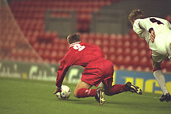 LIVERPOOL, ENGLAND - Tuesday, January 7, 1997: Liverpool's Michael Owen is brought down for a penalty against Manchester United during the FA Youth Cup match at Anfield. United won 2-1. (Pic by David Rawcliffe/Propaganda)