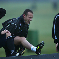 St Johnstone Training...02.12.03<br />Mark Robertson shares a joke with Ross Forsyth and Peter MacDonald during training before tomorrow's clash v Rangers<br />see story by Gordon Bannerman Tel: 01738 553978<br />Picture by Graeme Hart.<br />Copyright Perthshire Picture Agency<br />Tel: 01738 623350  Mobile: 07990 594431