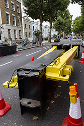 August 26, 2017 - London, England, United Kingdom - Notting Hill police installed anti-terror road barriers before Carnival on August 26, 2017, London, UK. Tomorrow starts the Notting Hill Carnival parade. Caribbean culture carnival will attract hundreds of thousands of people to the streets of Notting Hill. The risk of terrorist attack is higher than usual, says police. (Credit Image: © Dominika Zarzycka/NurPhoto via ZUMA Press)