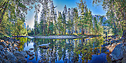 Art rendition of panorama of the Merced River in Yosemite National Park