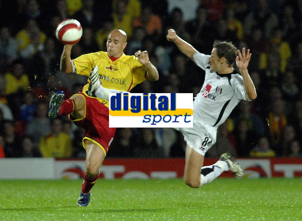 Photo: Richard Lane.<br />Watford v Fulham. The Barclays Premiership. 02/10/2006. <br />Watford's Gavin Mahon and Fulham's Michael Brown challenge for the ball.