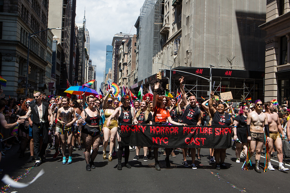 New York, NY - 30 June 2019. The New York City Heritage of Pride March filled Fifth Avenue for hours with participants from the LGBTQ community and it's supporters. The New York City cast of The Rocky Horror Picture Show.