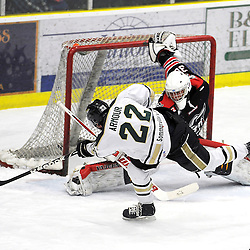 COBOURG, ON - Feb 10 : Ontario Junior Hockey League Game Action between the Cobourg Cougars and the Georgetown Raiders, Connor Armour #22 of the Cobourg Cougars Hockey Club scores a goal during first period game action.<br /> (Photo by Andy Corneau / OJHL Images)