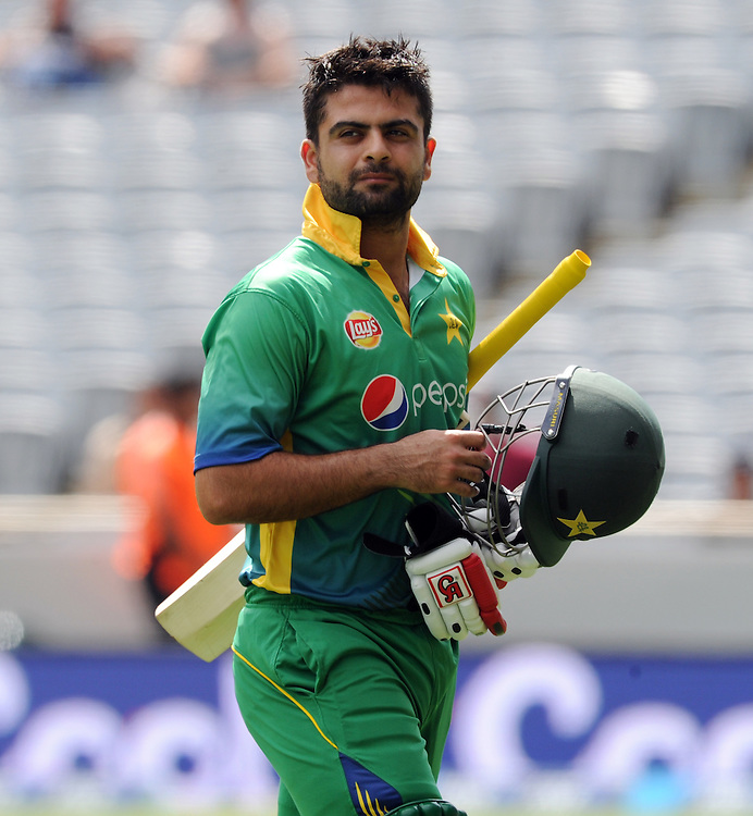 Pakistan's Ahmed Shahzad out for 12 to New Zealand's Trent Boult in the 3rd ODI International Cricket match at Eden Park, Auckland, New Zealand, Sunday, January 31, 2016. Credit:SNPA / Ross Setford