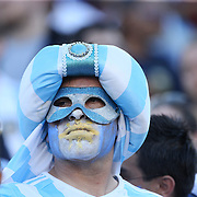 FOXBOROUGH, MASSACHUSETTS - JUNE 18: An Argentinian fan during the Argentina Vs Venezuela Quarterfinal match of the Copa America Centenario USA 2016 Tournament at Gillette Stadium on June 18, 2016 in Foxborough, Massachusetts. (Photo by Tim Clayton/Corbis via Getty Images)