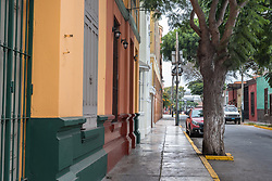 Lima, Peru -- April 13, 2018. A typically colorful side street in the  Barranco District in Lima, Peru. Editorial use only.