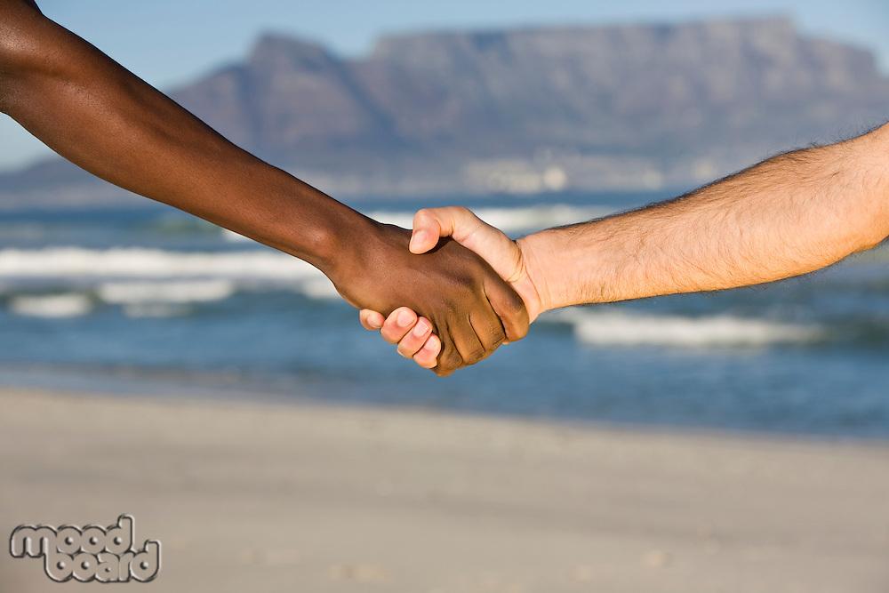 Multi-racial handshake Table MOuntain beach