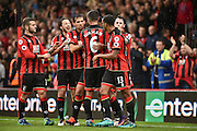 AFC Bournemouth Players Celebrate after AFC Bournemouth Midfielder, Junior Stanislas (19) scores a penalty 3-1 during the Premier League match between Bournemouth and Hull City at the Vitality Stadium, Bournemouth, England on 15 October 2016. Photo by Adam Rivers.