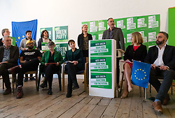 © Licensed to London News Pictures. 08/05/2019. London, UK.  Co-leader, Sian Berry with Co-leader, Jonathan Bartley speaking at the Green Party European election campaign launch, held at the Candid Arts Trust.  Photo credit: Vickie Flores/LNP
