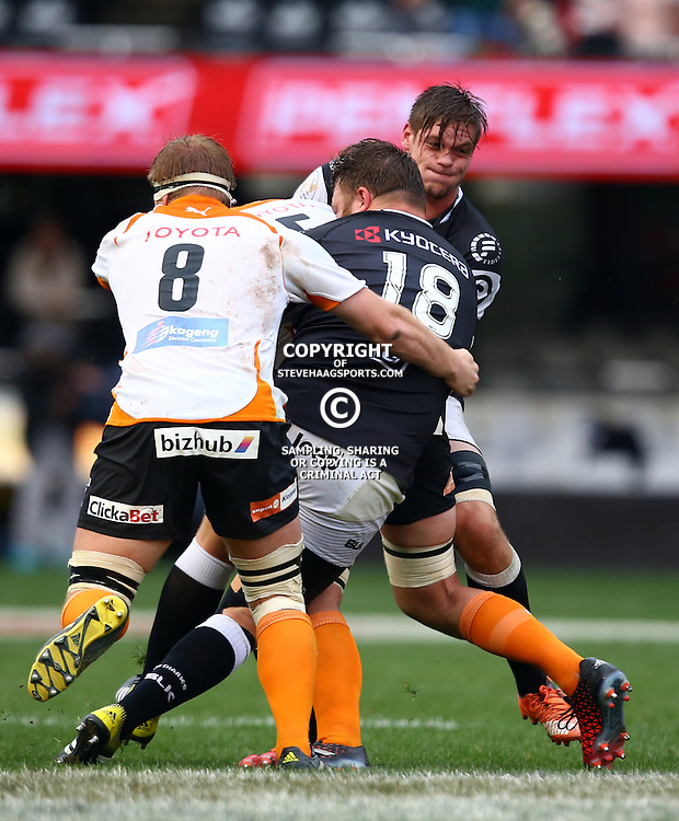 DURBAN, SOUTH AFRICA - SEPTEMBER 10: Nardus Erasmus of the Toyota FS Cheetahs U21 with big hit on Ruan Kramer of the Cell C Sharks Under 21's during the Currie Cup U21 match between the Sharks and Free State at Growthpoint Kings Park on September 10, 2016 in Durban, South Africa. (Photo by Steve Haag/Gallo Images)