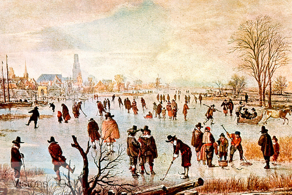 Dutch people playing Kolf on ice painting by A...Neer painted in C1600<br /> Picture Credit: &copy;Visions In Golf / Hobbs Golf Collection