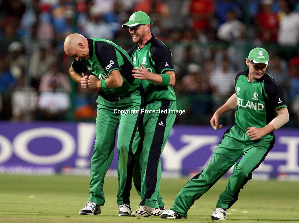 Ireland bowler Trent Johnston celebrates and dancing after take Indian batsman Virender Sehwag wicket during the ICC Cricket World Cup - 22nd Match, Group B, India vs Ireland Played at M Chinnaswamy Stadium, Bangalore, 6 March 2011 - day/night (50-over match)
