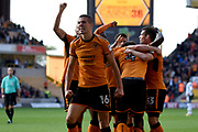 Wolverhampton Wanderers midfielder Alfred N'Diaye (4) scores a goal 2-1, Wolverhampton Wanderers midfielder Conor Coady (16) celebrates during the EFL Sky Bet Championship match between Wolverhampton Wanderers and Barnsley at Molineux, Wolverhampton, England on 23 September 2017. Photo by Alan Franklin.