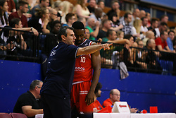 Bristol Flyers head coach Andreas Kapoulas<br />  gives instructions t Raphell Thomas-Edwards - Photo mandatory by-line: Arron Gent/JMP - 28/09/2019 - BASKETBALL - Crystal Palace National Sports Centre - London, England - London City Royals v Bristol Flyers - British Basketball League Cup