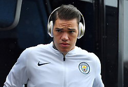Manchester City goalkeeper Ederson arrives ahead of the match