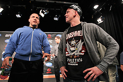September 29, 2011; Washington D.C.; USA; Pat Barry (left) and Stefan Struve (right) talk at the final press conference for their upcoming bout at UFC on Versus 6.